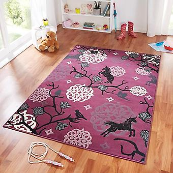 Design suede play mat for kids Unicorn Purple Purple 140 x 200 cm