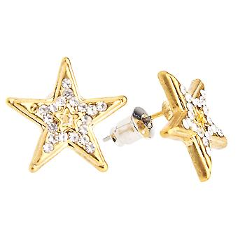 Iced Out Bling Ohrstecker Box - NEW STAR 15mm gold