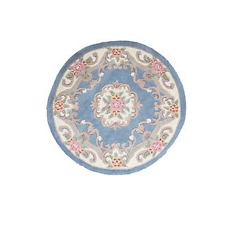 Blue Traditional Round Wool Rug Imperial