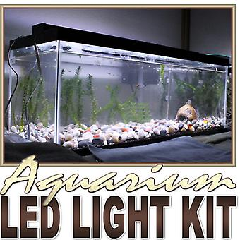 Biltek 2' ft Cool White Aquarium Tank Coral White LED Backlight Night Light On/Off Switch Control Kit - Main Lighting Sub Fresh Water Salt Water Tanks Water Resistant 3528 SMD Flexible DIY 110V-220V