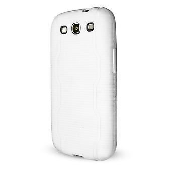 Technocel Textured Slider Skin with Line Pattern for Samsung Galaxy S3 - White