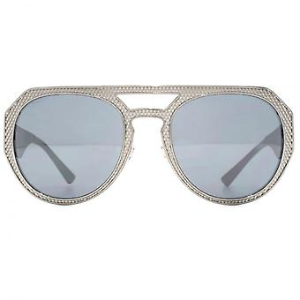 Versace Medusa Aviator Sunglasses In Gunmetal Mirror