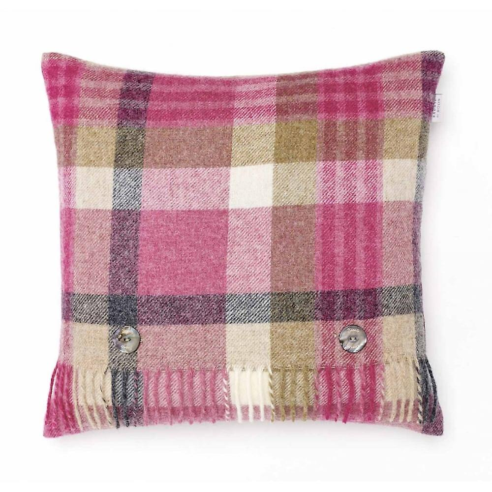 Bronte By Moon Melbourne Check Shetland Wool Cushion - Pink/Natural