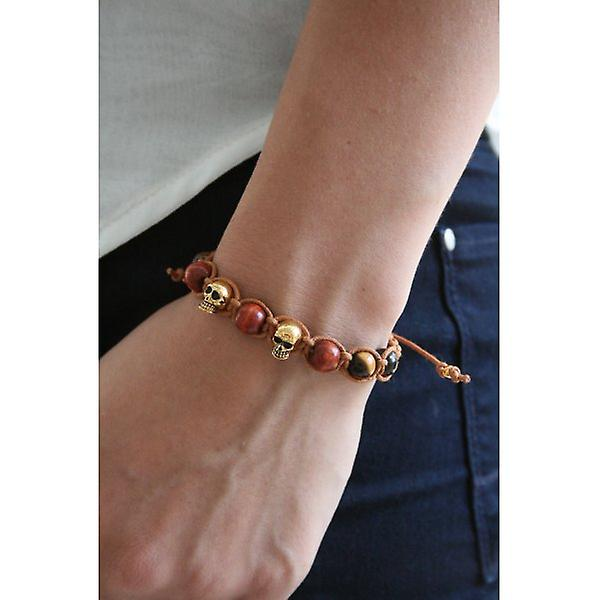 W.A.T Gold Plated Sterling Silver Skull And Wood Bead Macrame Bracelet