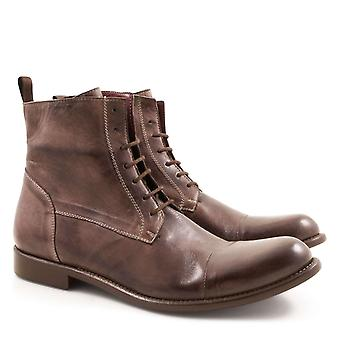 Lace-ups plain cap toe derby boots Made in Italy