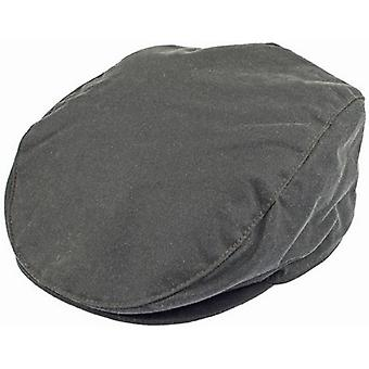 Deuken Wax Cotton Flat Cap - salie