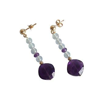 Gemstone earring aquamarine and Amethyst earrings gold plated