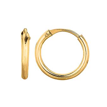 14K Gold Round Endless Hoop Earrings, 10mm