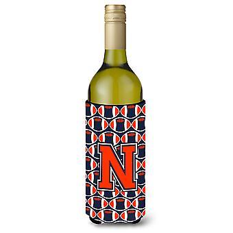 Letter N Football Orange, Blue and white Wine Bottle Beverage Insulator Hugger