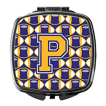 Letter P Football Purple and Gold Compact Mirror