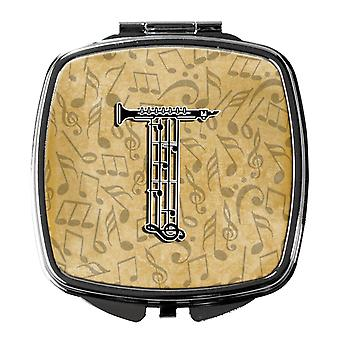 Letter T Musical Instrument Alphabet Compact Mirror