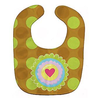 Carolines Treasures  BB9052BIB Heart Flower Green Baby Bib