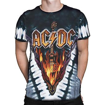 Liquid Blue - HELLS BELLS - Short Sleeve AC/DC Tie-Dye T-Shirt .