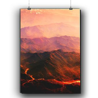 Matte or Glossy Poster with Volcano Lava Photo Nature | Wellcoda | *q304