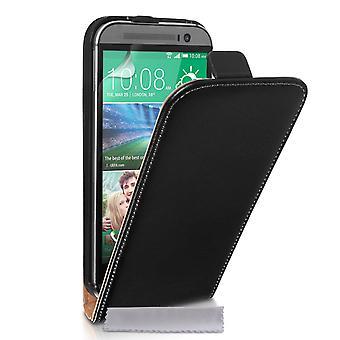 Caseflex HTC One M8 echt leder Flip Case - zwart