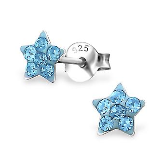 Star - 925 Sterling Silver Crystal Ear Studs - W19153x