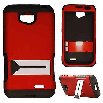 2-en-1 hybride Protector Case pour LG L70 / dépasser (peau noire et Hone caoutchouté