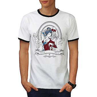 Girl Japan Woman Men White / BlackRinger T-shirt | Wellcoda
