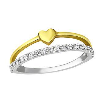Heart - 925 Sterling Silver Jewelled Rings - W28179X