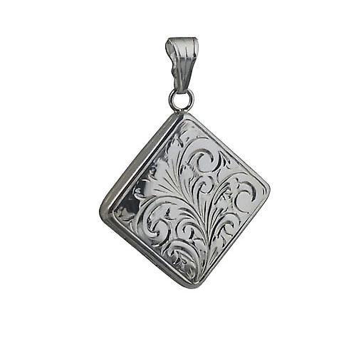 Silver 22mm hand engraved flat diamond shaped Locket