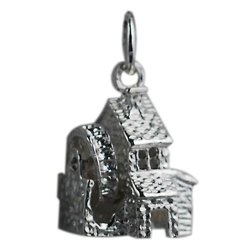 Silver 14x11mm moveable Water mill pendant or charm