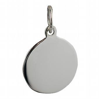 9ct White Gold 13mm round plain Disc