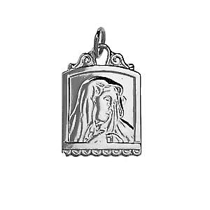 Silver 22x15mm Square Our Lady of sorrows Pendant