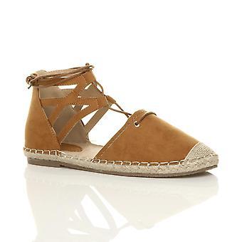 Ajvani womens flat lace up ghillie cut out espadrilles summer shoes sandals