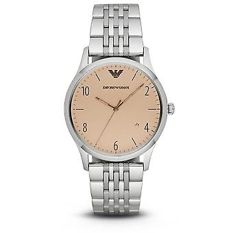 Emporio Armani Mens Gents Watch Stainless Steel Strap Beige Dial AR1881