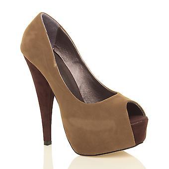Ajvani kvinnors hög klack klassiska part kvällen peep toe domstolen skor sandaler