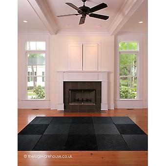 Cuadrados de lana negro alfombra