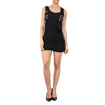 Ladies Black Lace Dungaree Shorts Relaxed Fit Lined Bib Overall Shorts