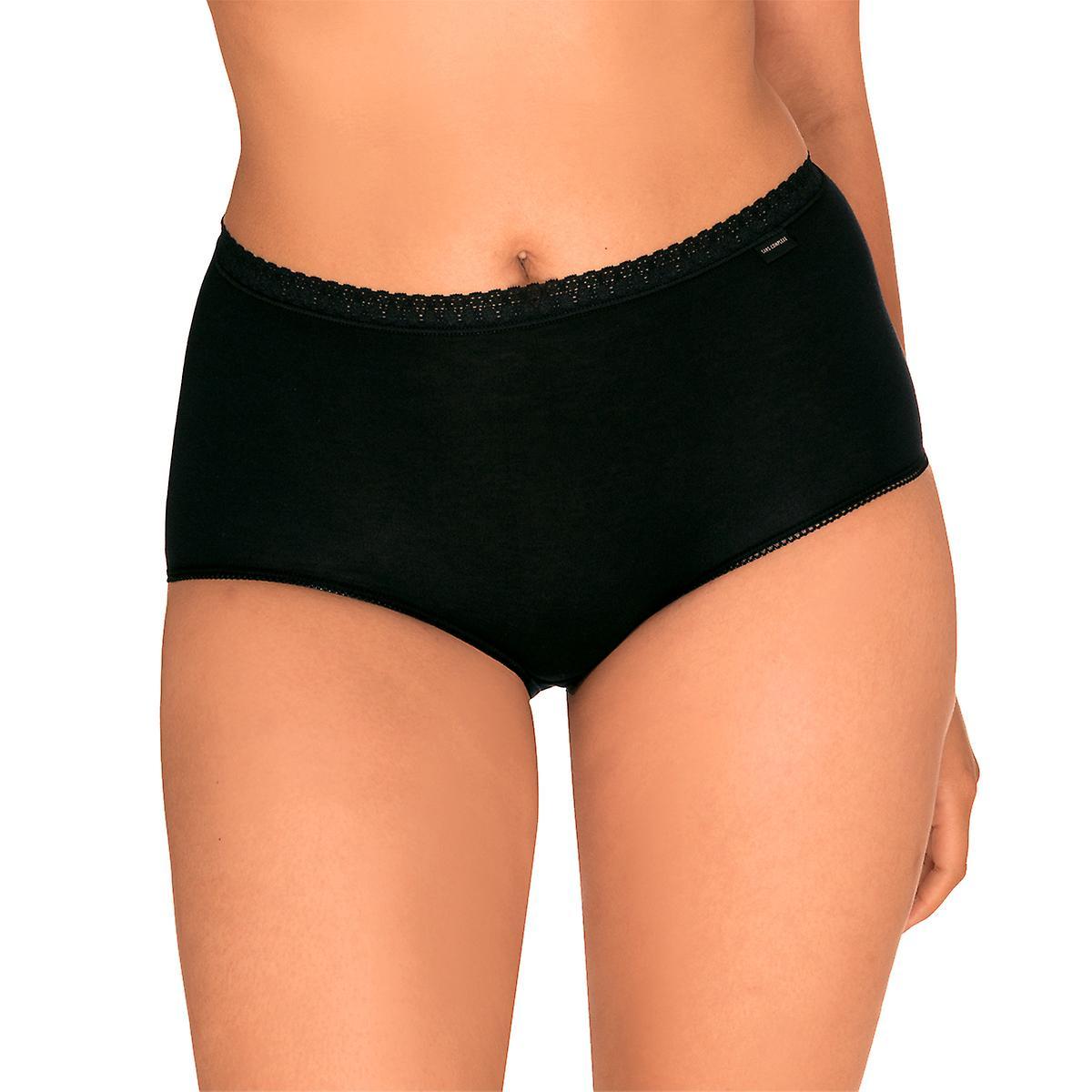 Sans Complexe 619073-Noir Women's Classique Coton Black Full Panty 2 Pack Highwaist Brief