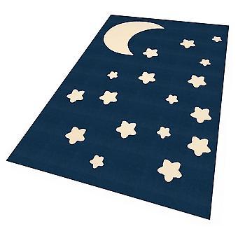 Diseño ante juego tapete para niños Luna y estrellas Dunkelblau140x200 cm