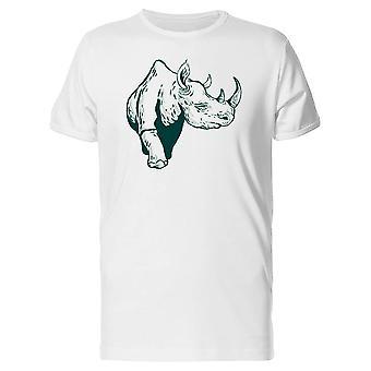 Rhinoceros Green Outline Tee Men's -Image by Shutterstock