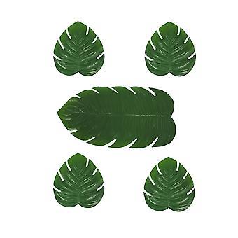 Зеленый Искусственный тропический Монстера лист 5 кусок таблица бегуна и набор столовых приборов