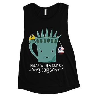 Cup Of Liber-Tea Women Black 4th of July Muscle Tee Gift For Her
