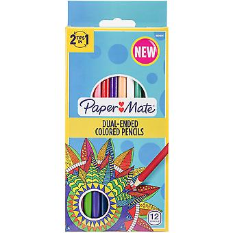 Paper Mate Double-Ended Colored Pencils 12/Pkg-Round Brights