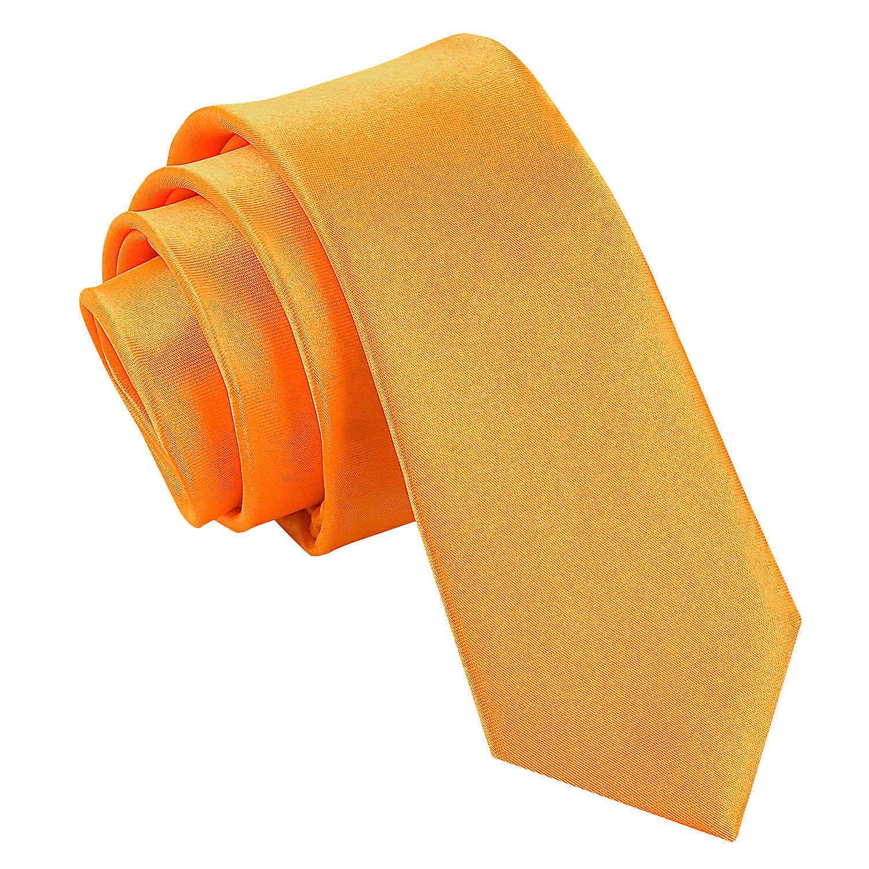 Fluorescent Orange Plain Satin Skinny Tie