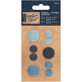 Papermania Denim Blue Fabric Covered Buttons 9/Pkg-