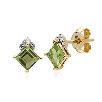 Gemondo 9ct Yellow Gold Peridot & Diamond Square Stud Earrings