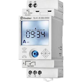 DIN rail mount timer Operating voltage: 230 V AC Finder 12.A1.8.230.0000 1 change-over 16 A 250 V AC Astronomical, Week settings