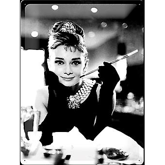 Audrey Hepburn Holly Golightly Large Embossed Steel Sign 400Mm X 300Mm