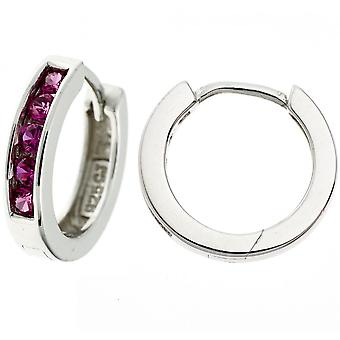 Ringer rundt 925 sterling sølv rhodium belagt 10 kubikk zirconia øreringer rød