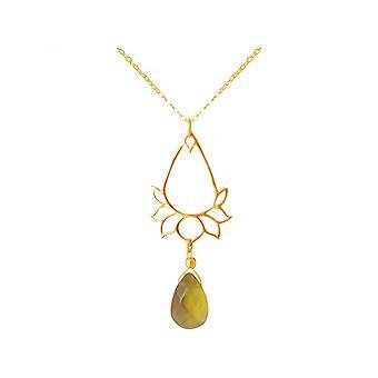 Women - armband - 925 zilveren - gilt - lotusbloem - Citrien - drops - gouden - YOGA - 45 cm