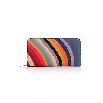 Paul Smith Accessories Womens Large Zip Round Swirl Leather Purse
