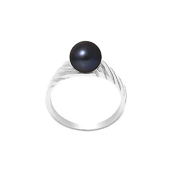 Ring Pearl of Culture of water soft 7-8 mm black and Silver 925/1000