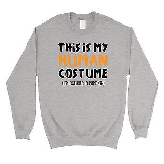 This Is My Human Costume Unisex Grey Crewneck Sweatshirt