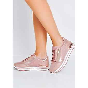 Glitter Metallic Cleated Lace Up Trainers Pink