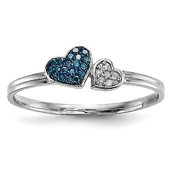 925 Sterling Silver Open back Gift Boxed Rhodium-plated Blue and White Diamond Hearts Ring - Ring Size: 6 to 8